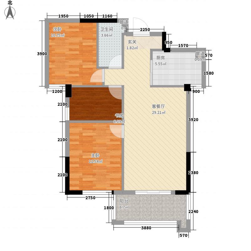 中庚紫金香山86.00㎡7#04、05单元户型3室2厅1卫1厨
