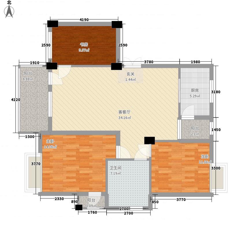 奕翠园别墅户型2室2厅1卫1厨