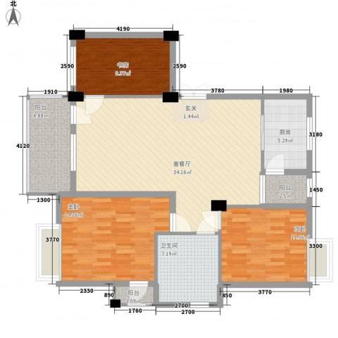 奕翠园别墅3室1厅1卫1厨130.00㎡户型图