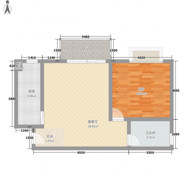 古庄新城6.15㎡1、2、4#楼6层05、08单元户型1室1厅1卫1厨