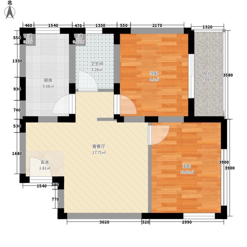 青岛风景66.65㎡E户型2室1厅1卫1厨
