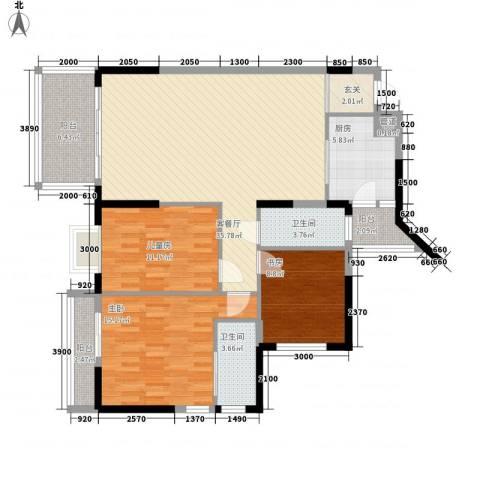 广厦新苑3室1厅2卫1厨97.36㎡户型图