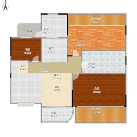 碧桂园凰城3室1厅1卫1厨227.00㎡户型图