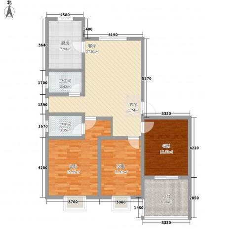 富丽佳苑3室1厅2卫1厨129.00㎡户型图