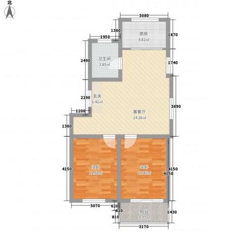 润源庭2室1厅1卫1厨86.00㎡户型图