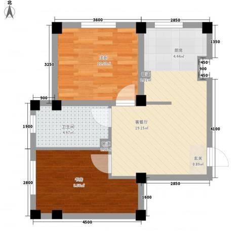 七里香堤2室1厅1卫0厨63.00㎡户型图