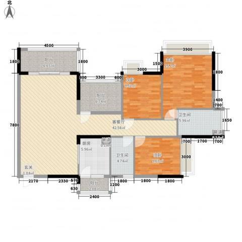 名流印象三期幸福季3室1厅2卫1厨123.79㎡户型图