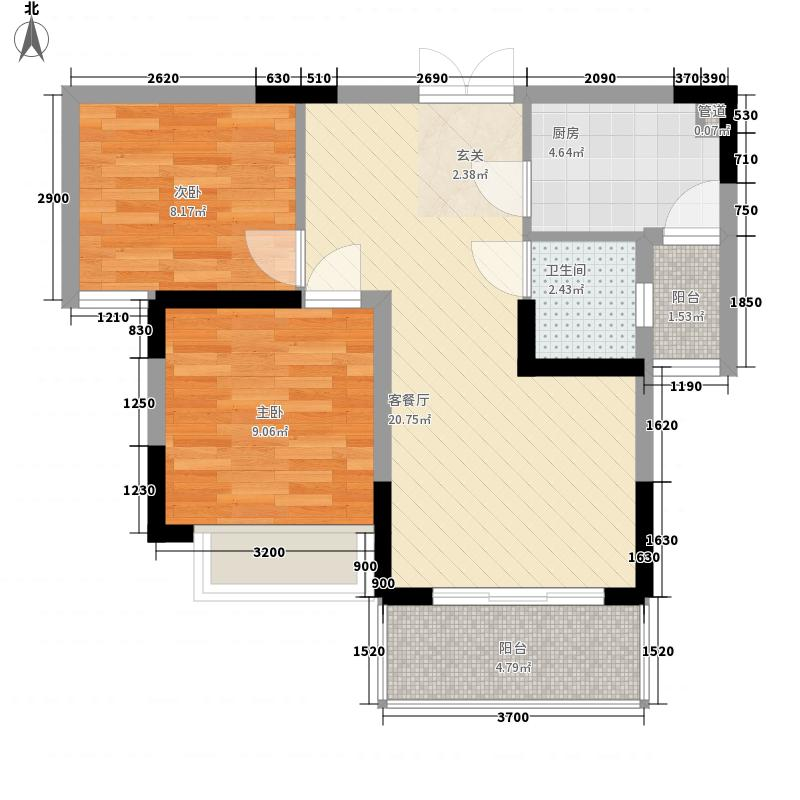 翠堤湾7.10㎡E1、E2、F1、F2栋标准层户型2室2厅1卫