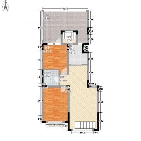 融城7英里2室1厅1卫1厨128.00㎡户型图