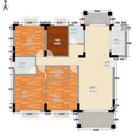 山水芳邻4室1厅2卫1厨141.00㎡户型图