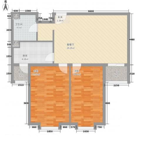 上奥世纪中心2室1厅1卫1厨106.00㎡户型图