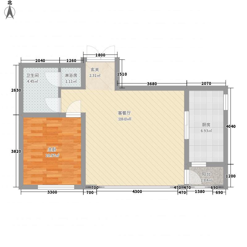 公园大道7.00㎡1#3#楼A户型1室2厅1卫1厨