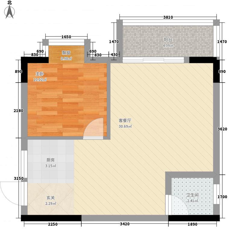 宝莲大厦63.54㎡12#2单元F2户型1室2厅1卫1厨