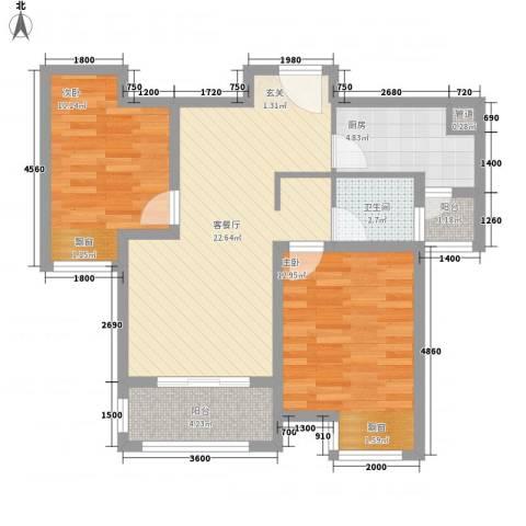 龙凤花园2室1厅1卫1厨86.00㎡户型图