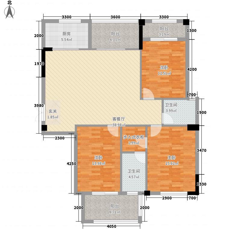 中庚紫金香山118.00㎡12#04单元户型3室2厅2卫1厨