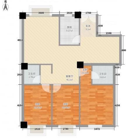 泛华盛世3室1厅2卫1厨125.00㎡户型图