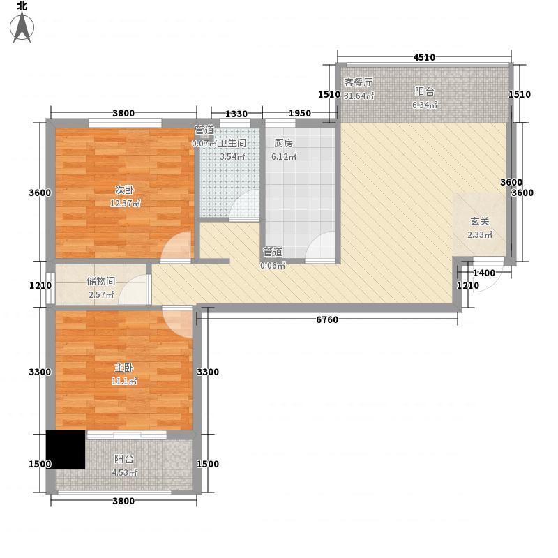 世纪家园15.35㎡A户型2室2厅1卫1厨