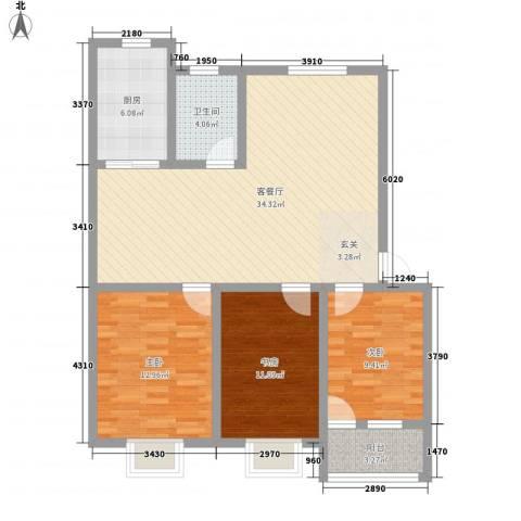 三友华锦苑3室1厅1卫1厨92.84㎡户型图
