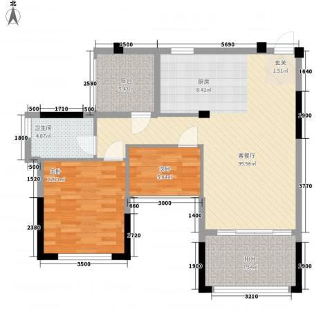 景华城2室1厅1卫0厨99.00㎡户型图