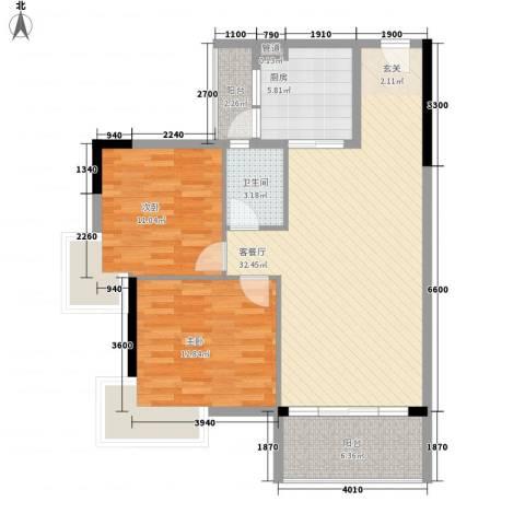 恒和主场2室1厅1卫1厨87.00㎡户型图
