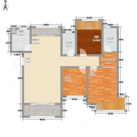 龙凤花园3室1厅2卫1厨141.00㎡户型图