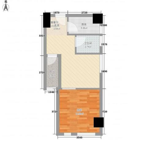 景隆现代城1室1厅1卫1厨52.00㎡户型图