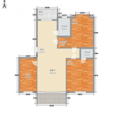 德胜凯旋花园3室1厅2卫1厨148.00㎡户型图