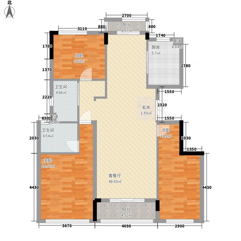 荣安中央公园128.00㎡J户型3室2厅2卫1厨