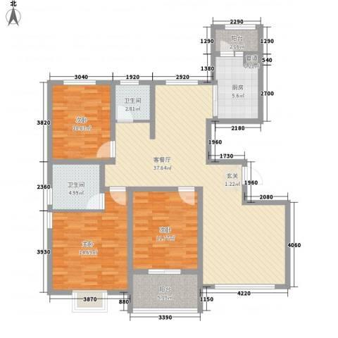 华府天地3室1厅2卫1厨137.00㎡户型图