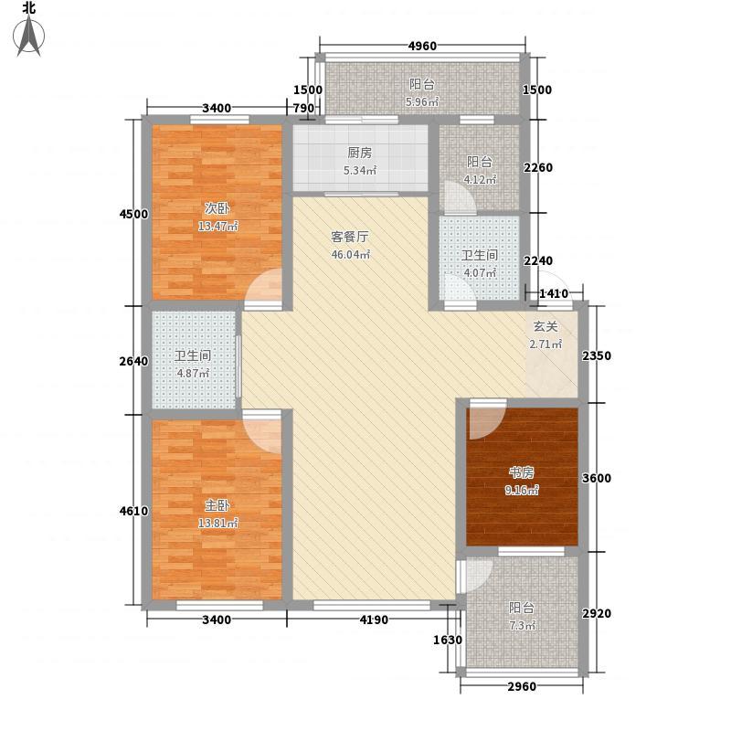 上东街区美一方146.00㎡F户型3室2厅2卫