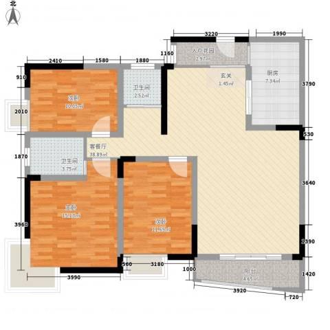 在水一方3室1厅2卫1厨139.00㎡户型图