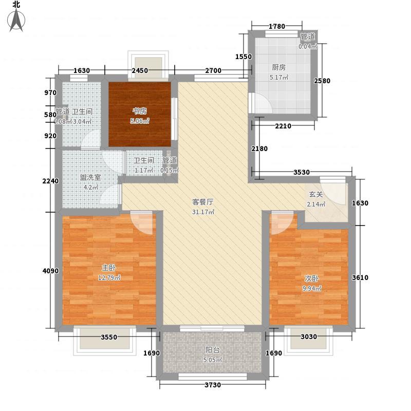 合悦江南113.54㎡Y8-F2户型3室2厅1卫1厨