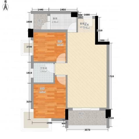 陈江金城花园2室1厅1卫1厨87.00㎡户型图