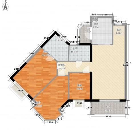 中颐海伦堡3室1厅2卫1厨125.00㎡户型图