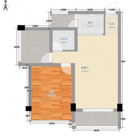 柳东国际1室1厅1卫1厨78.00㎡户型图