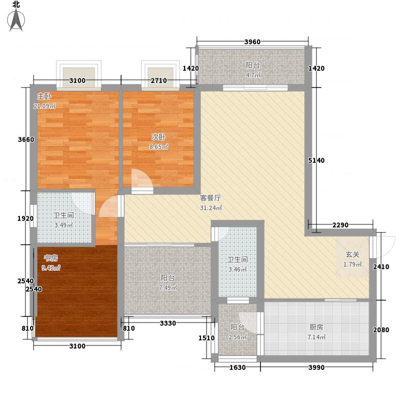 柳东国际128.47㎡2#A户型3室2厅2卫1厨