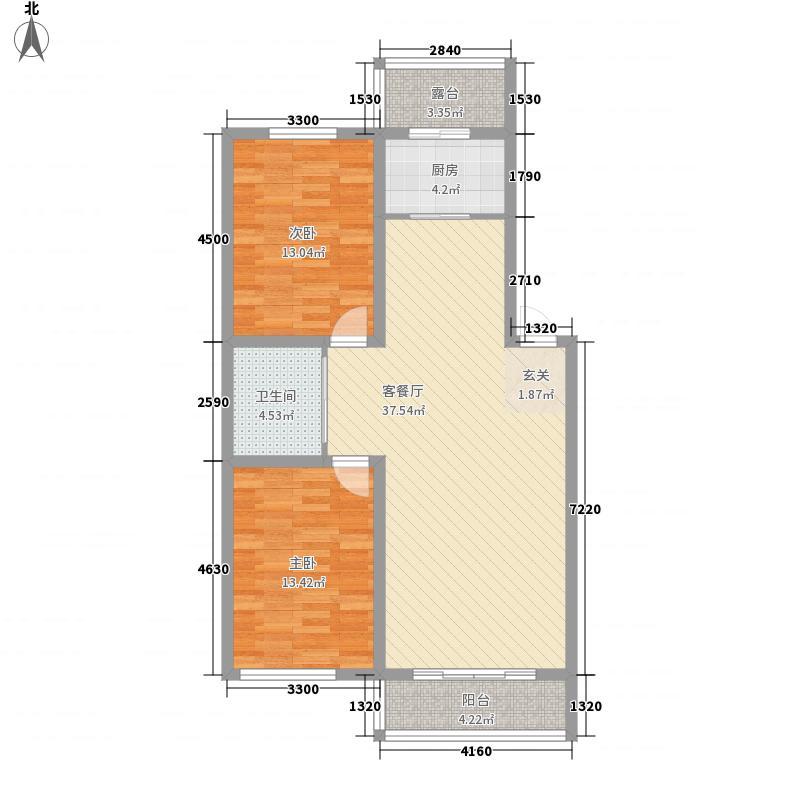 上东街区美一方16.52㎡D户型2室2厅1卫