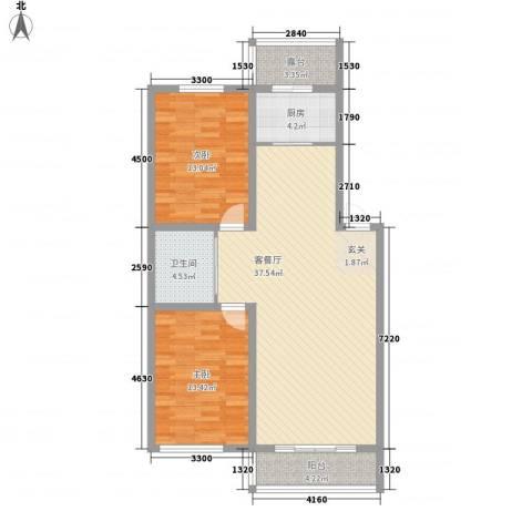 上东街区美一方2室1厅1卫1厨80.29㎡户型图