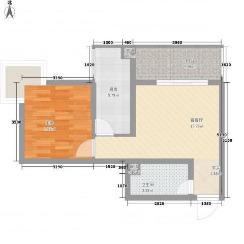 在水一方1室1厅1卫1厨67.00㎡户型图