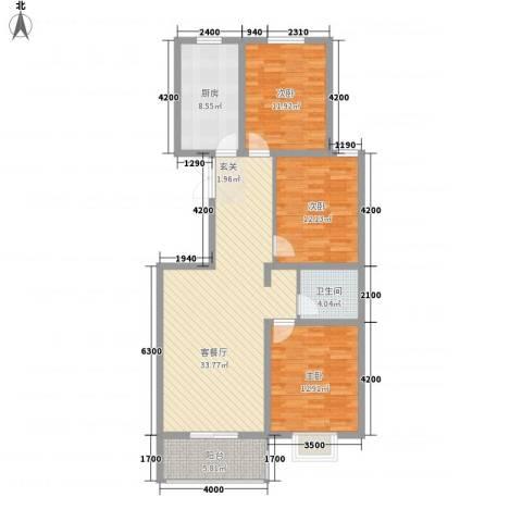 臻观苑3室1厅1卫1厨123.00㎡户型图
