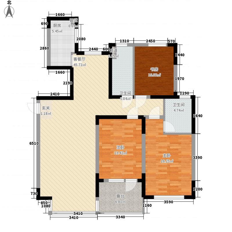 新湖明珠城142.50㎡10#楼户型3室2厅2卫