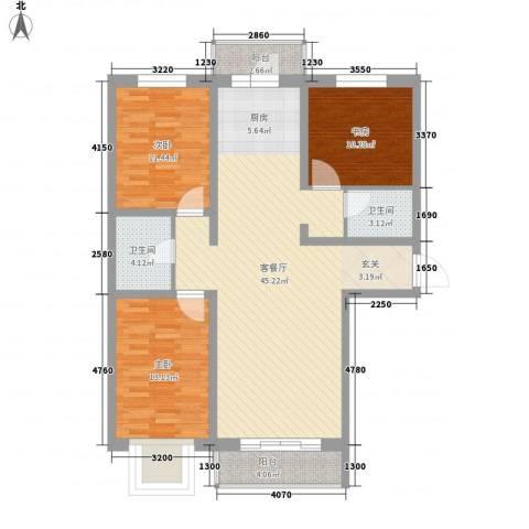 芳汀花园3室1厅2卫0厨136.00㎡户型图