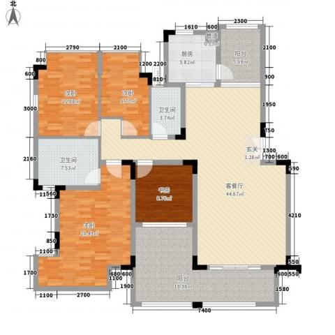 郦城水岸4室1厅2卫1厨148.00㎡户型图
