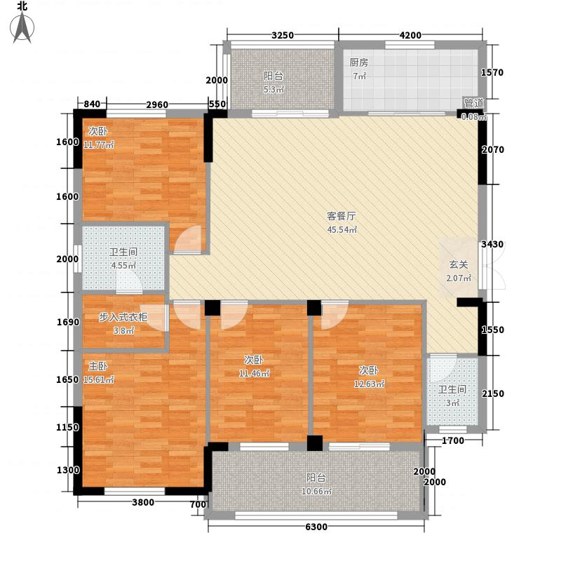 中庚紫金香山134.00㎡12#06单元户型4室2厅2卫1厨