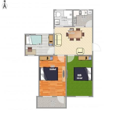 太仓向阳小区3室1厅1卫1厨80.00㎡户型图