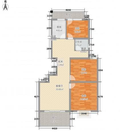 美多商务花园3室1厅1卫1厨125.00㎡户型图