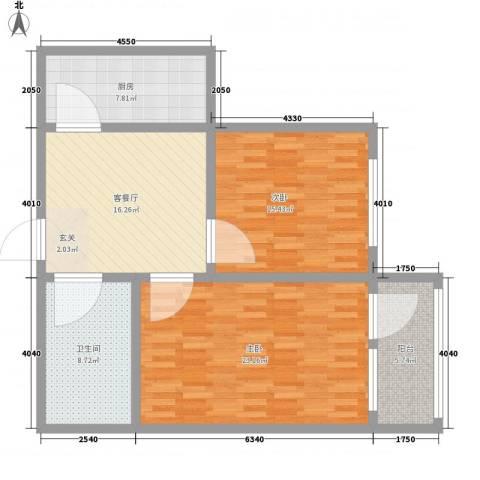 煤炭进出口宿舍2室1厅1卫1厨110.00㎡户型图