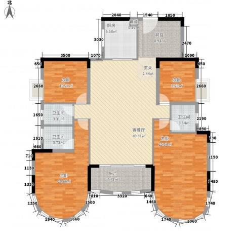 茗雅荟4室1厅3卫1厨154.65㎡户型图