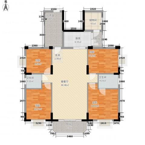 御景华城可园4室1厅2卫1厨173.00㎡户型图