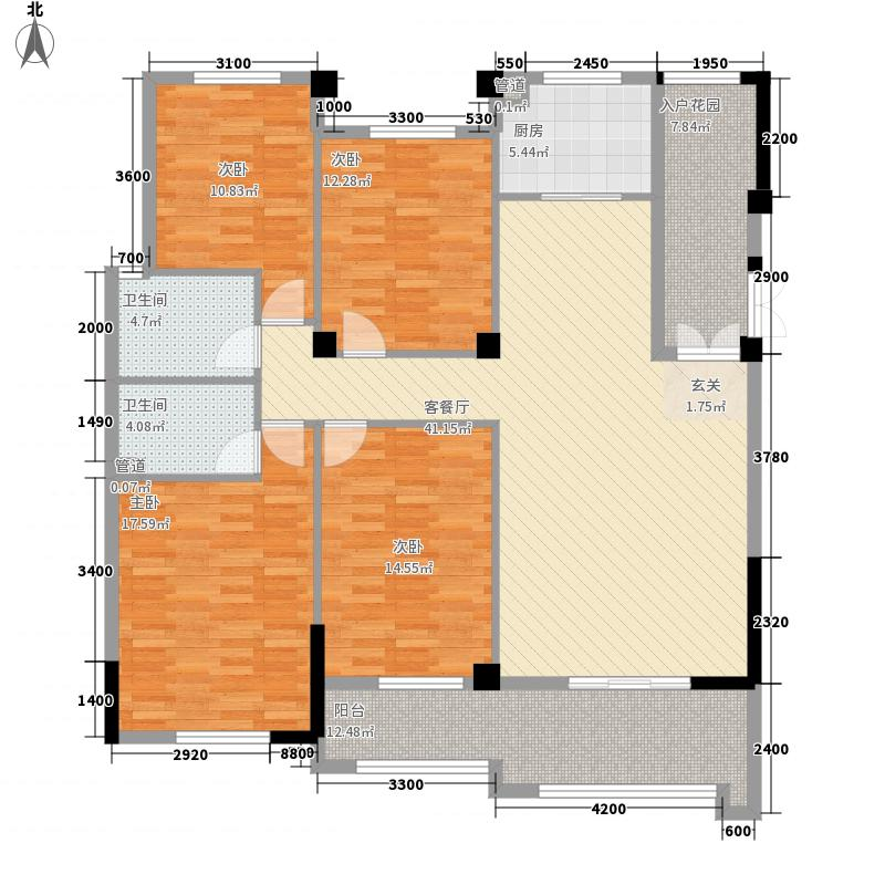 中庚紫金香山141.00㎡12#03单元户型4室2厅2卫1厨